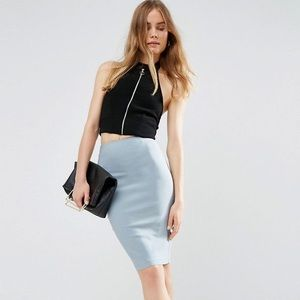 Asos High Waisted Pencil Skirt In alight Blue